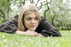 Free Beautiful Woman Laying On The Grass Stock Photos - 10139183