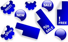 Set Of Blue Glossy Stickers Royalty Free Stock Image