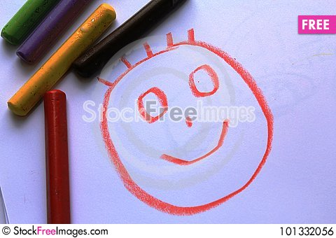 Free A Smiling Head On The Kid`s Drawing Royalty Free Stock Image - 101332056
