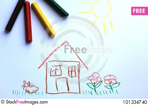 Free A Little House On The Kid`s Drawing Stock Photo - 101334740