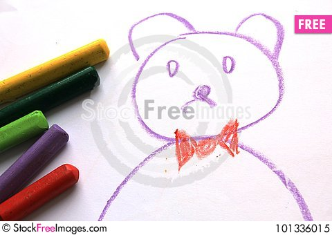 Free Cute Bear On The Kid`s Drawing Royalty Free Stock Photo - 101336015