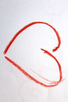 A Red Heart On The Kid`s Drawing