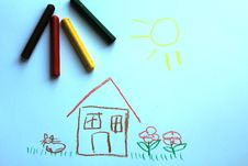 A Little House On The Kid`s Drawing Stock Images