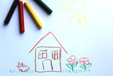 A Little House On The Kid`s Drawing Stock Photo
