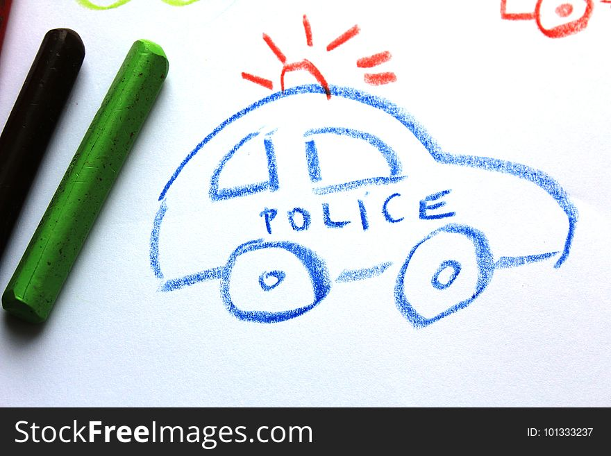 A Police Car On The Kid S Drawing Free Stock Images Photos