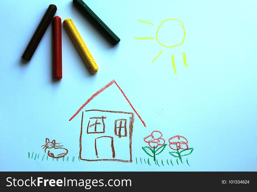 A little house on the kid`s drawing