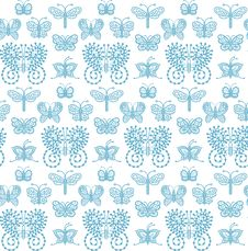Free Lace Butterflies - Seamless Pattern. Royalty Free Stock Photography - 101342077