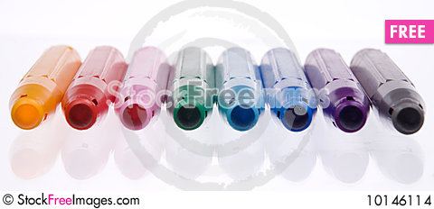Eight different soft-tip pen Stock Photo