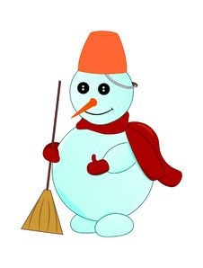 Free Snowman With A Broom In The Arm Royalty Free Stock Photo - 10140115