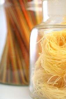 Free Spaghetti And Capellini In Glass Jars Stock Photography - 10140462