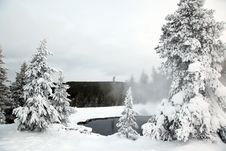 Winter Season At Lake Of Yellowstone NP Stock Images