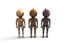 Free Three Wooden Feminine Characters - 3DThree Wooden Royalty Free Stock Photography - 10141707