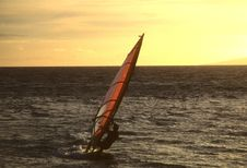 Windsurfing At Sunset Royalty Free Stock Photo