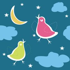 Free Birds On The Sky In Night Stock Images - 10142834