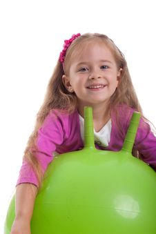 Free Little Girl And Big Green Ball Stock Images - 10143504