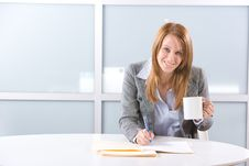 Free BUsiness Woman Having Coffee Stock Images - 10144284