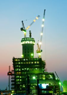 Free Dubai Night Time Construction Stock Images - 10145444