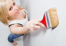 Girl With Paint Brush Stock Photos