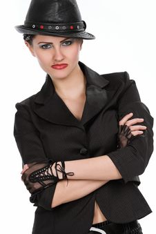 Free Young Fashionable Model With Black Hat Stock Photos - 10146223