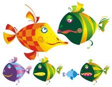 Free Set Of Colored Funny Fishes. Stock Image - 10147131