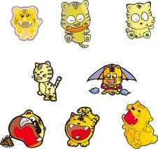 Free Tiger Set Five Royalty Free Stock Image - 10147786