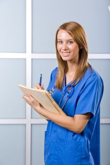 Female Nurse In A Modern Office Stock Images