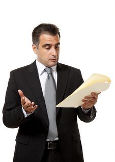 Businessman With Document Royalty Free Stock Photo