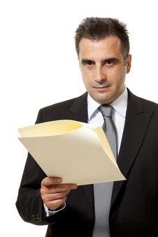 Free Businessman With Document Stock Image - 10149081