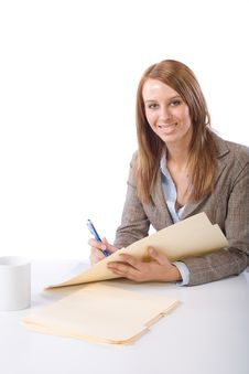 Free Business Woman Writing Notes At Desk Stock Image - 10149301