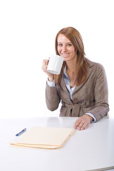 Business Woman Drinking Coffee Stock Images