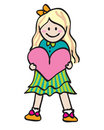 Free Girl Holding Heart Stock Photography - 10156332
