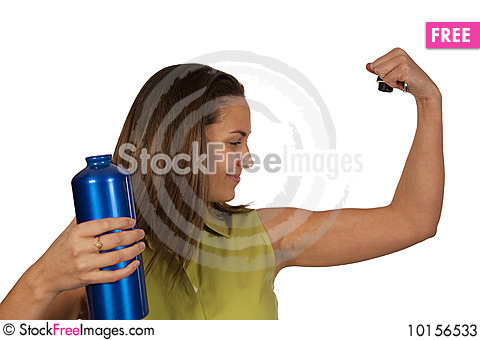 Free Woman Holding Blue Bottle Of Water Stock Photos - 10156533