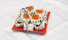 Free Homemade Inside-out Sushi With Red Caviar On Stock Photography - 10150472