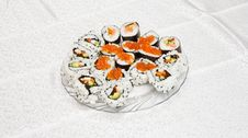 Free Homemade Sushi With Red Caviar On Royalty Free Stock Image - 10150486