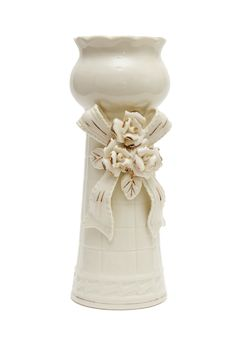 Free White Porcelain Vase With Bow Isolated Royalty Free Stock Images - 10150489