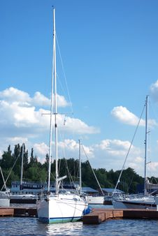 Yacht Dockage To A Pier In Sailing Club Royalty Free Stock Photo