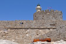 Lighthouse At Harbour In Rhodes, Greece Royalty Free Stock Images
