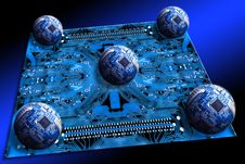 Free Motherboard & Five Scheme Spheres Royalty Free Stock Image - 10155116