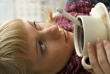 Girl With Her Coffee Royalty Free Stock Image