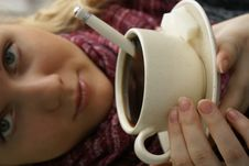Girl With Her Coffee Stock Photos