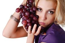 Free Woman With Bunch Of Grapes Stock Image - 10156471