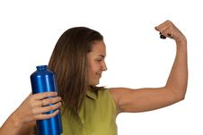 Woman Holding Blue Bottle Of Water Stock Photos