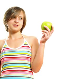 Free Attractive Girl Holding An Apple Royalty Free Stock Images - 10157559