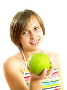 Free Smiling Young Lady With A Green Apple Stock Image - 10157561