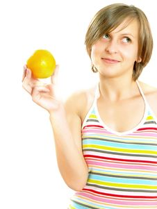 Free Smiling Young Lady Holding A Fresh Orange Stock Images - 10157564