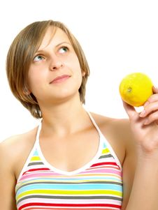 Free Cute Lady With Citrus Fruit Royalty Free Stock Photo - 10157565