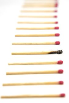 Free Row Of Matches With One Standout Royalty Free Stock Photography - 10158657