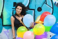 Free Woman With Colorful Balloons Stock Images - 10158794