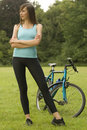 Free Active Woman With Bike Stock Photo - 10169690