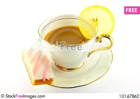 Free Tea And Cake With Slice Of Lemon Stock Photography - 10167862
